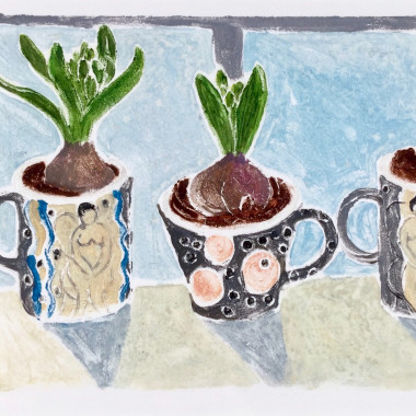 Tessa Newcomb - Untitled (Bulbs in Mugs), c 1990