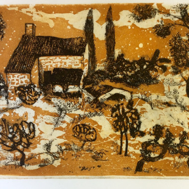 André Bicât - Tuscan Farm II (Ochre), c 1970