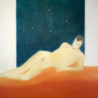 Craigie Aitchison - Figure and Orange Blanket, 1975