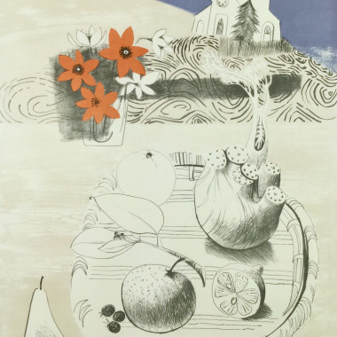 Mary Fedden - Straw Plate (Fennel, Fruit, Flowers), 1971