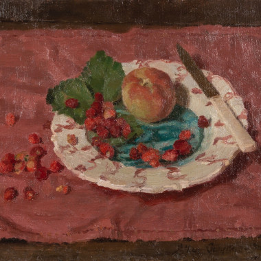 Allan Gwynne-Jones - Fruit on a Plate, Red Cloth, c 1932
