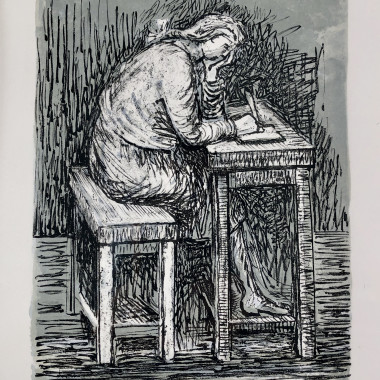 Henry Moore - Girl Seated at a Desk VII, 1974