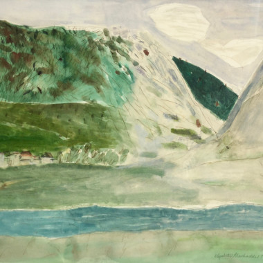 Elizabeth Blackadder - River Doubs, Pontarlier (French Landscape), 1971