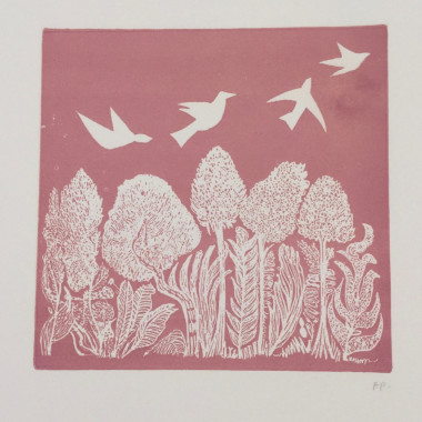 André Bicât - White Birds on Pink