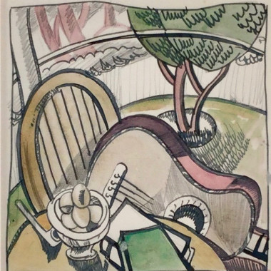 Doris Hatt - Still life, Pipe, Eggs, Guitar, c 1930s