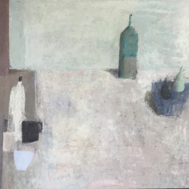 Nicholas Turner - Table with Pears and Bottle, 2017