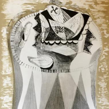 Robert MacBryde - Still life on Pedestal Table (Still Life II), c 1960