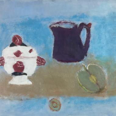 Henri Hayden - Nature morte, bleu a la pomme, 1965