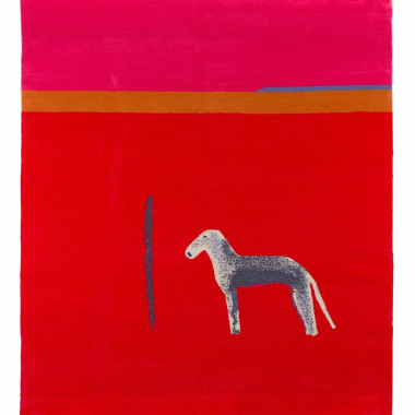 Craigie Aitchison - Bedlington in Red (carpet), 2012