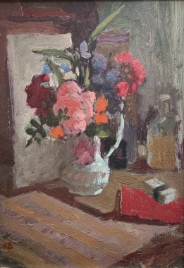 <span class=%22title%22>Mixed Flowers in China Jug</span>