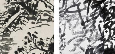 Detail from Huang Binhong's painting Landscape in the Style of Fan Kuan (left) Detail from Wang Dongling's calligraphy Huajianci: Ganjunxin (right).