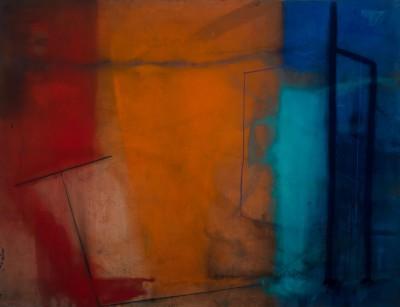 karin lambrecht, fragmentos azul paris e vermelho cadmium, 2012/2013