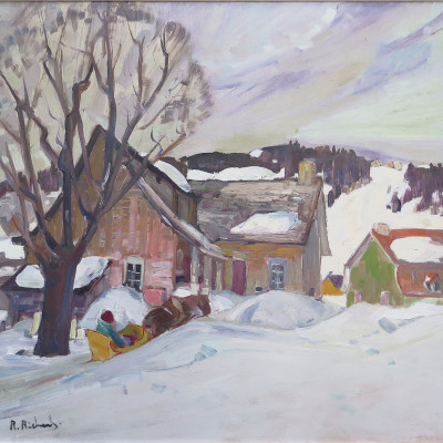 """<span class=""""artist""""><strong>René Richard, C.M., R.C.A.</strong></span>, <span class=""""title""""><em>Vieille maison, Charlevoix</em></span>-<div class=""""artist""""><strong>René Richard, C.M., R.C.A.</strong></div> (1895-1982)<div class=""""title""""><em>Vieille maison, Charlevoix</em></div><div class=""""signed_and_dated"""">signed """"R. Richard."""" (recto, lower left).</div><div class=""""medium"""">Oil on masonite - Huile sur isorel</div><div class=""""dimensions"""">21 5/8 x 22 in<br>54.9 x 55.9 cm</div>"""