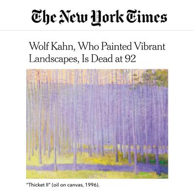 "<h1 id=""link-6fb59332"" class=""css-fnr6md e1h9rw200"" itemprop=""headline"">WOLF KAHN, WHO PAINTED VIBRANT LANDSCAPES, IS DEAD AT 92</h1><h1 id=""link-6fb59332"" class=""css-fnr6md e1h9rw200"" itemprop=""headline"" style=""text-align: left;""> </h1>-<p><span>NEWS</span></p>"