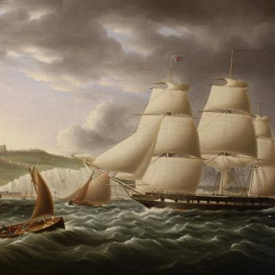 Naval Frigate Sailing Past Dover Castle-James Edward Buttersworth