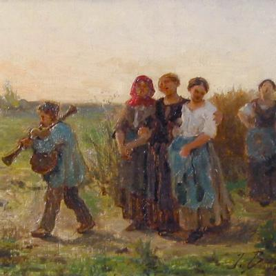Women Singing, End of Day-Jules Breton