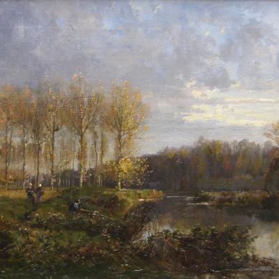 Pêcheurs et Paysannes au Bord de la Rivière-Alexandre René Veron