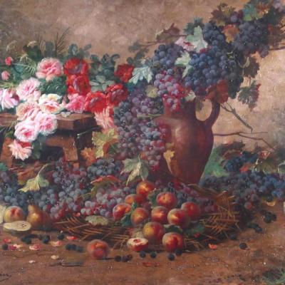 Still Life with Flowers and Fruit-Max Albert Carlier