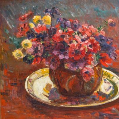 Floral Still Life with Brass Platter-Georges Daniel de Monfreid