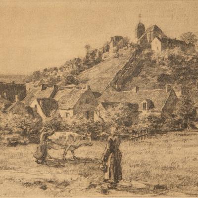 Paysannes et Vaches Devant le Village de Mont-Saint-Père-Léon-Augustin L'Hermitte