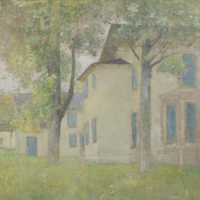 House with Blue Shutters-Soren Emil Carlsen
