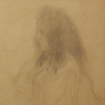 Brustbild eines Maedchens im Profil nach links-Gustav Klimt