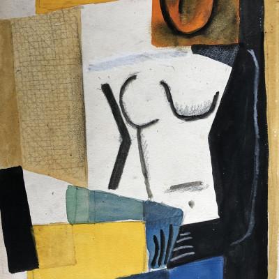 Carlos Carnero  Nu (jaune et orange), c. 1955  Watercolour  11 x 8 inches