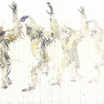 "'Gibbon Movement' Watercolour on Arches Aquarelle, 61"" x 41"" , 155cm x 102cm by Dave White 2015"