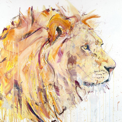 "'Lion' Oil on linen ,40"" x 40"" 102cm x 102cm ,by Dave White 2015"