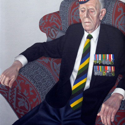 A portrait of James Glennie, Private with the 5th/7th Gordon Highlanders by Carl Randall at The Queen's Gallery.