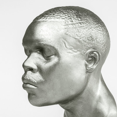 'Head 4 (Coloured Base)', 2012, silvered bronze, Perspex and spraypaint, 14.7 x 8 x 10