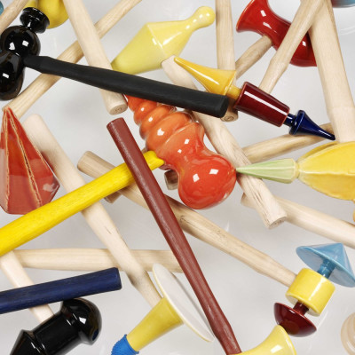'Hammers' (detail), 2009/2010, glazed eathenware, wood and found objects, size variable