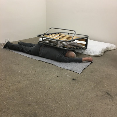 Stuart Brisley, Writing On The Wall Is, 2017, Performance, Raven Row, London (Photo: Maya Balcioglu)