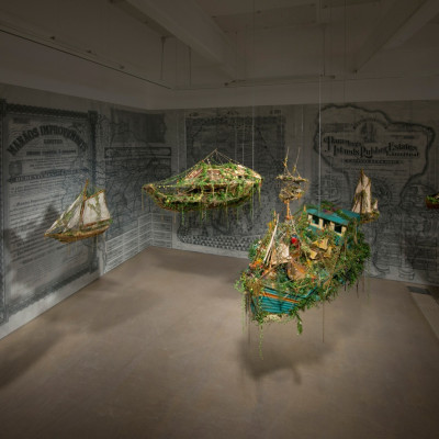 Hew Locke, Beyond the Sea Wall, 2014, Installation View at Hales London