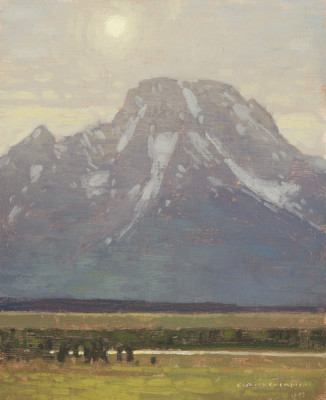 David Grossmann, Mount Moran with Late Afternoon Sun, Study