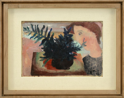 William Scott 1913-1989Face and Flowers signed and dated 1942 titled label verso oil on canvas on board 18 x 25.5 cms (7 x 10 ins) framed: 30 x 38 cms