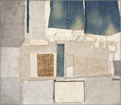 John Copnall 1928-2007Composition with Jeans signed and dated 1967-68 verso mixed media and collage on board 130 x 150 cms (51.25 x 59 ins) framed: 131 x 151 cms