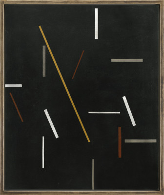 Michael Canney 1923-1999Composition with Gold Line, 1970 signed and dated 1970 verso oil on canvas 91.5 x 76 cms (36 x 30 ins) framed: 99 x 82.5 cms (39 x 32 ½ ins)