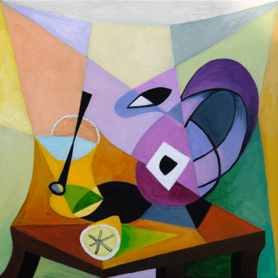 Erik Renssen, Pitcher, lemon and glass on a table, 2016
