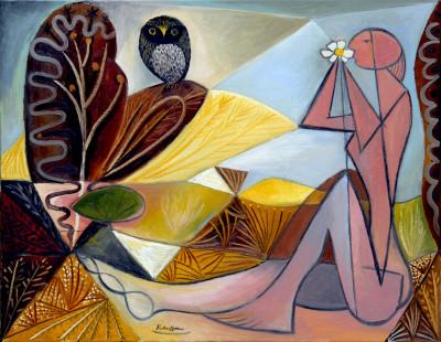Erik Renssen, Nude and owl in a garden, 2018