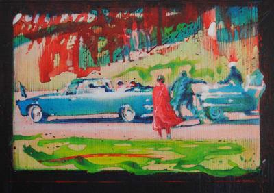 Denis Ryan RWS  Assassination in Dallas November 1963  acrylic  29 x 33