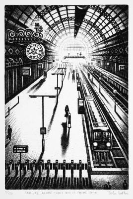 John Duffin ARWS RE, Arrival Alone - Kings Cross St Pancras Station