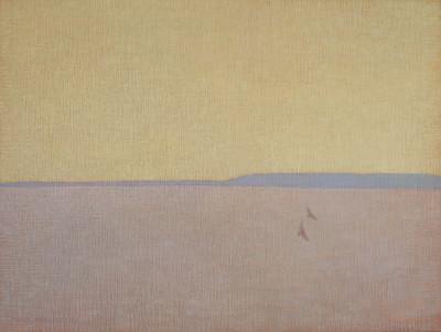 <span class=&#34;artist&#34;><strong>David Grossmann</strong></span>, <span class=&#34;title&#34;><em>Two Hawks with Yellow Sky</em></span>