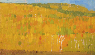 David Grossmann, Autumn Patchwork with White Trunks, Study