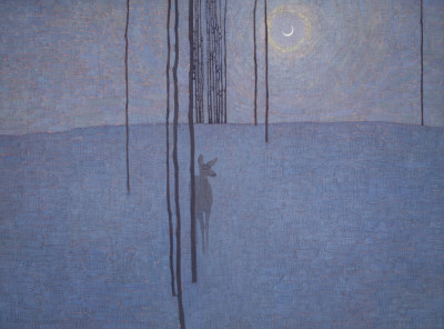 David Grossmann, Winter Night with Deer