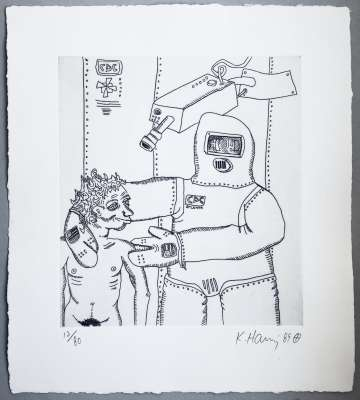 Keith Haring, Robot and Man, 1989