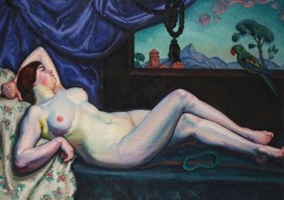 Roger-Maurice Grillon (1881-1938)Nu a l'oiseau, 1913