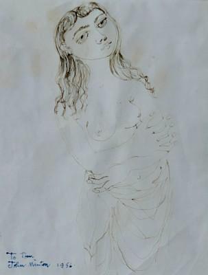 John Minton (1917-1957)Study of a Woman , 1956