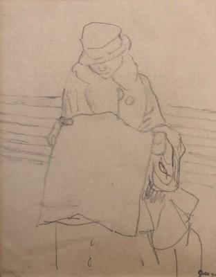 Gwen John (1876-1939)Woman in a railway carriage reading a newspaper, c. 1915