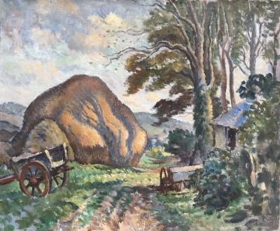 Ethelbert White (1891-1972)Sussex Landscape with Hayrick, c. 1933